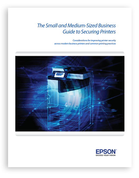 A thumbnail picture of a white paper titled The Small and Medium-Sized Business Guide to Securing Printers by Epson